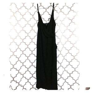 Dresses & Skirts - Black spaghetti-strap tank dress with front slit